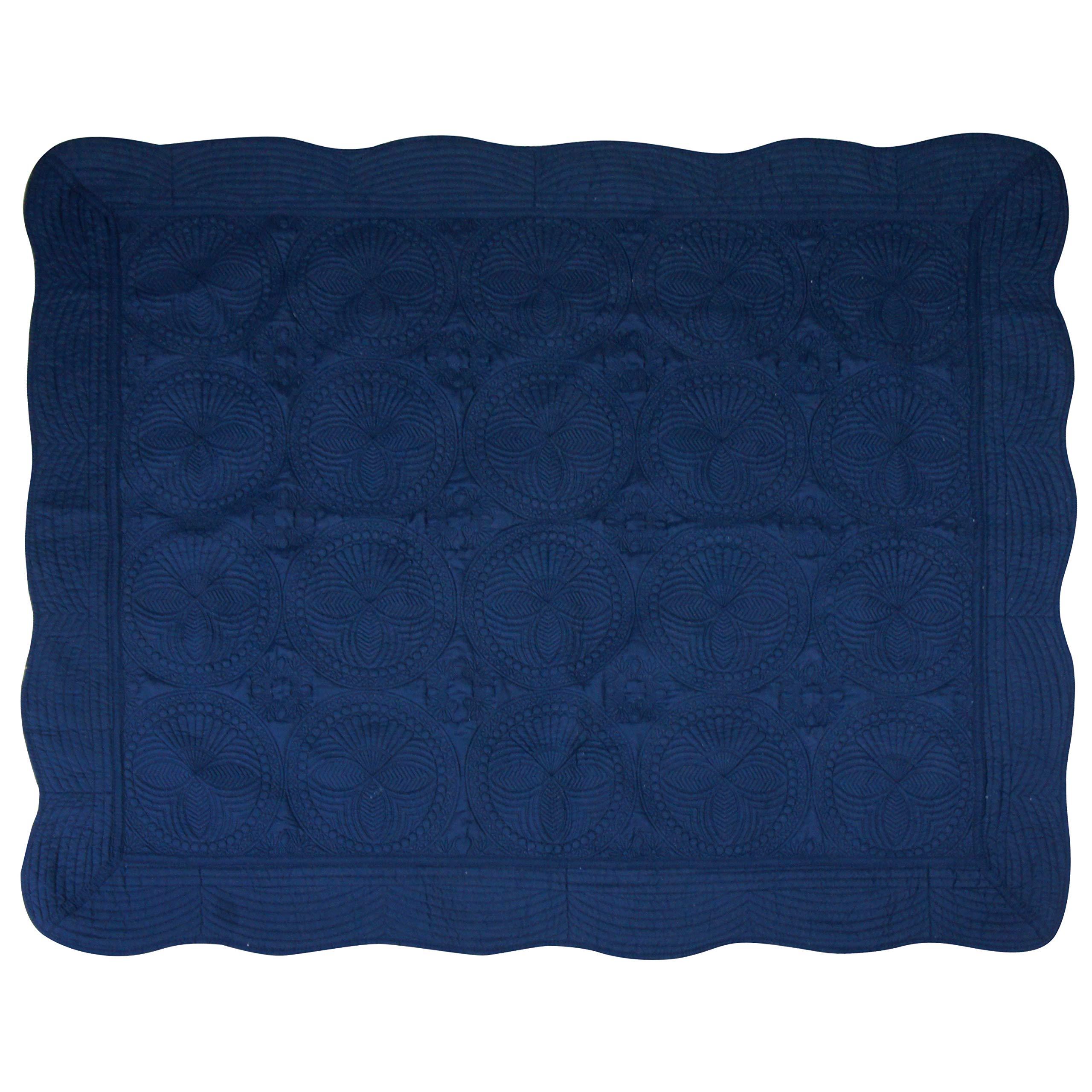 USTIDE Baby Personlized Quilt Monogram lightweight Blanket Embossed Cotton Quilt four Seasons,50''x60''Newborn Baby Boy/girl Gift (Navy Blue)