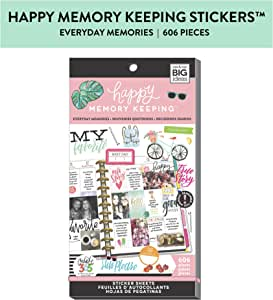 me & my BIG ideas Sticker Value Pack, Big Planner - The Happy Planner Scrapbooking Supplies - Everyday Memories Theme - Multi-Color & Gold Foil - Great for Projects & Albums - 30 Sheets, 606 Stickers