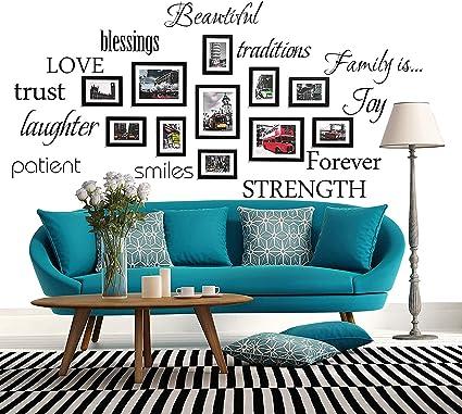 Wonzom Parole Per La Famiglia Set Di Sticker Da Parete Love Trust Blessing Smile Adatti Come Adesivi Murali E Decorazioni Artistiche Amazon It Casa E Cucina