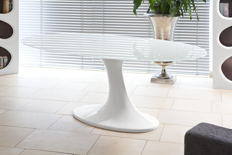 SalesFever ESS-Tisch weiß Hochglanz oval aus Glas 210x115cm | Diner ...