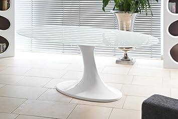 Ess-Tisch weiß Hochglanz oval aus Glas 210x115cm | Diner ...