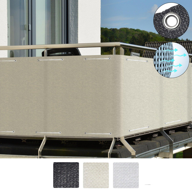 Sol Royal SolVision Brise vue pour balcon HB2 HDPE 300x90 cm Anthracite avec oeillets et cordons