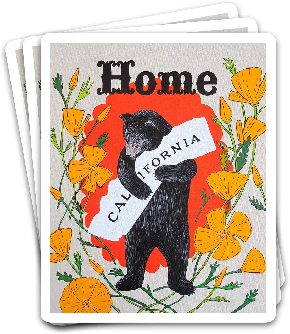 SNOWIX California US State Vintage Home Bear Hug Logo Name Sign Golden Poppies Ideas Stickers for Laptops Tumblers Books Luggages Cases Pack 3x4 in Vinyl 3pcs/Pack