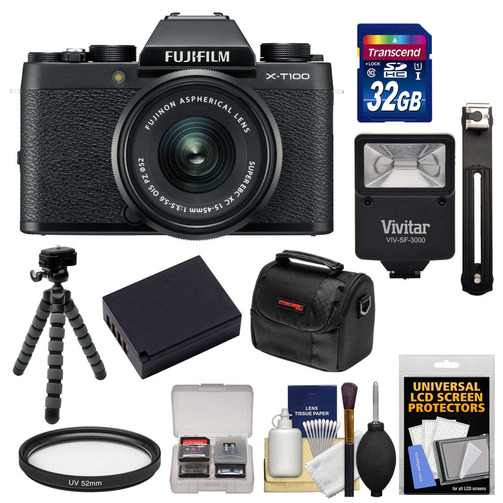 Fujifilm X-T100 Digital Camera & 15-45mm XC OIS PZ Lens (Black) with 32GB Card + Battery + Tripod + Flash + Case + Kit