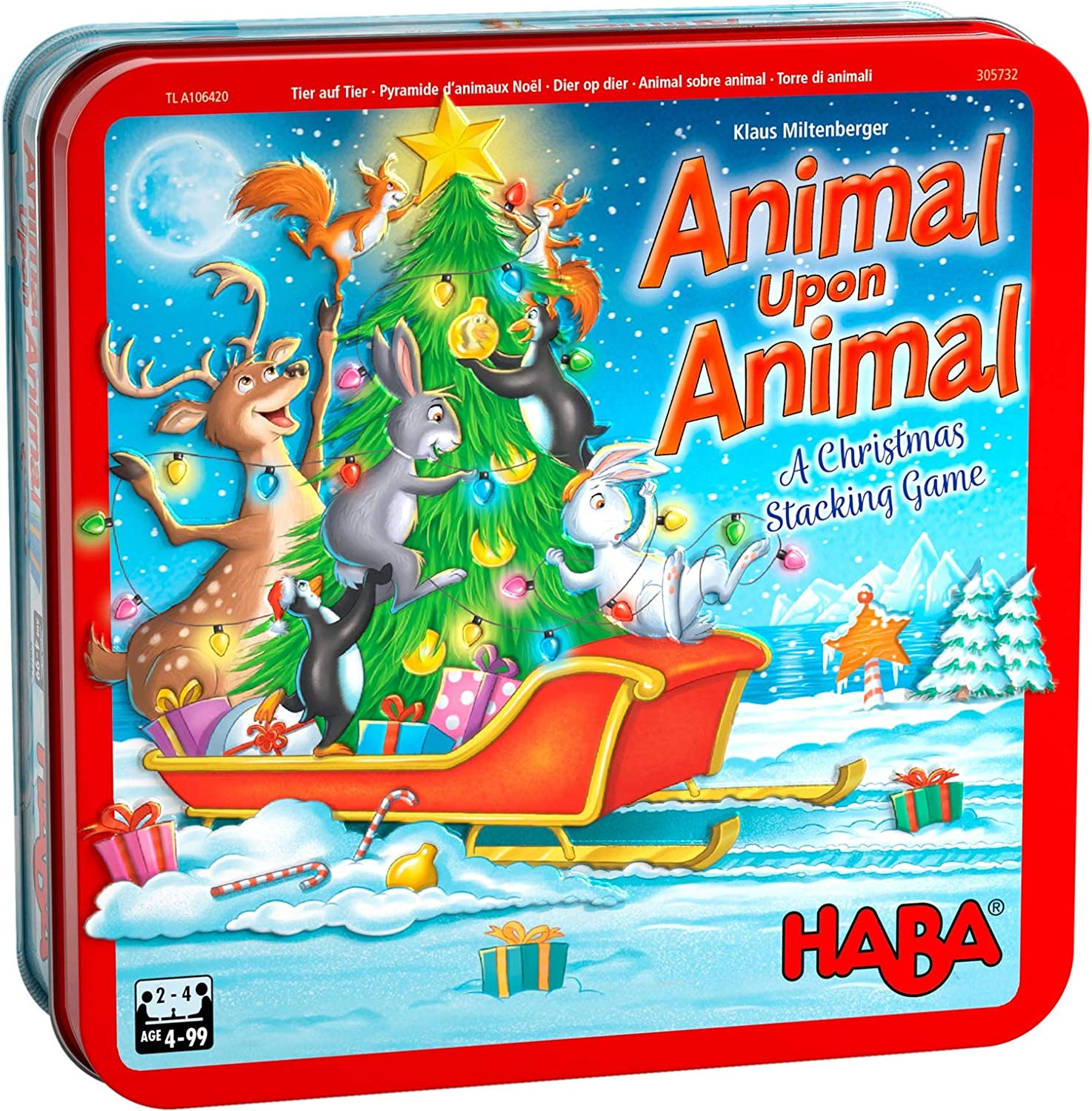 Made in Germany HABA Animal Upon Animal Christmas Limited Edition Wooden Stacking Game in Collectors Tin