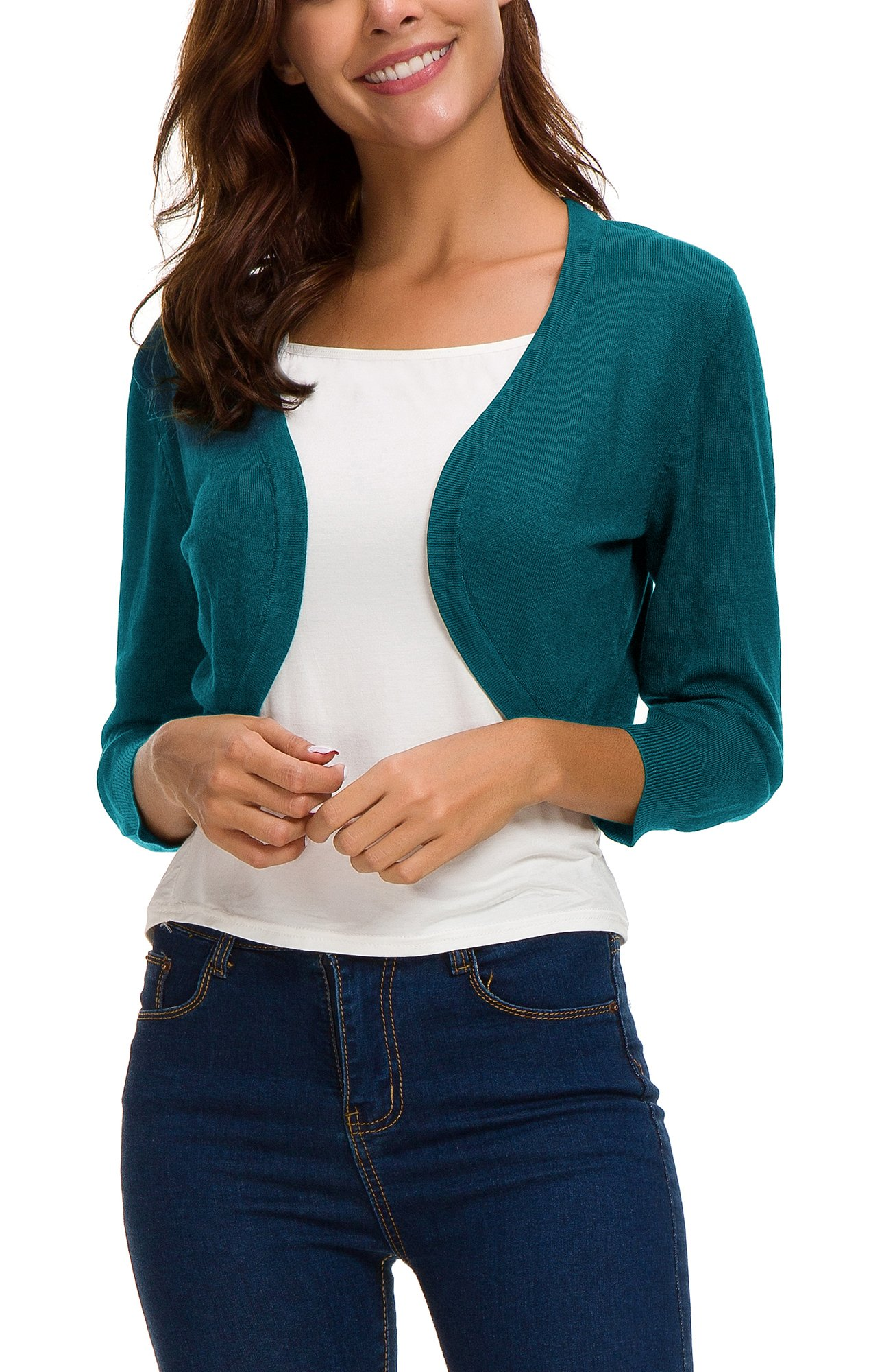 EXCHIC Women's Trendy Bolero Shrug Open Front Cropped Cardigan 3/4 Sleeves Short Coat/Sweater (L, Peacock Blue) by EXCHIC (Image #3)