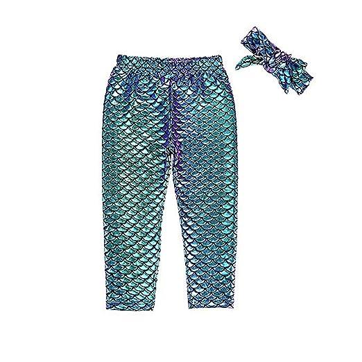 ca2dce29420b1 Kids Baby Girls Mermaid Fish Stretch Long Leggings Tight Pants 1-2T
