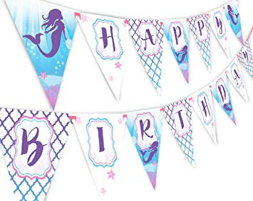 amazon com mermaid happy birthday banner pennant under the sea