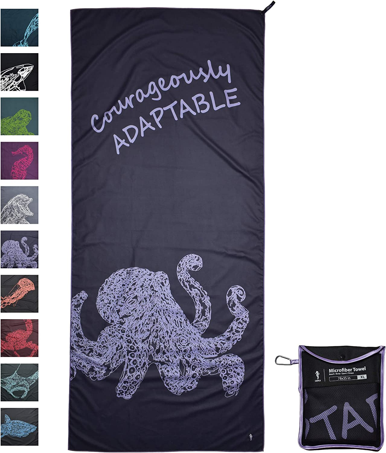 CANYLA Oversized Quick Dry Microfiber Beach & Travel Towel: XL 78x35, Lightweight & Compact, Fast Drying, Absorbent, Sand Free, Towel for Travel, Beach, Swim, Pool, Hike, Camp; Extra Large