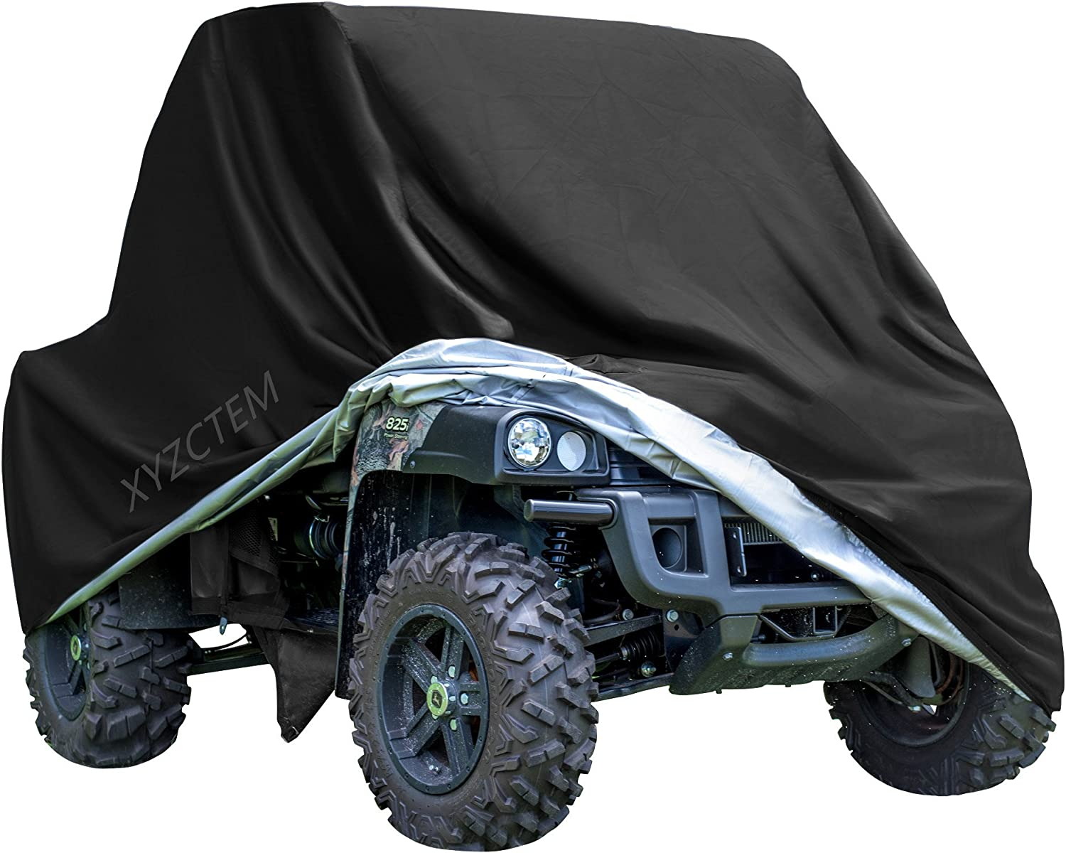 Nomiou Waterproof UTV Cover with Storage Bag Heavy Duty Black Protects 4 Wheeler From Snow Rain Dust and Sun 115 x 59 x 75 inch