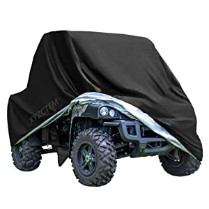 """XYZCTEM UTV Cover with Heavy Duty Black Oxford Waterproof Material, 114.17"""" x 59.06"""" x 74.80"""" (290 150 190cm) Included Storage Bag. Protects UTV From Rain, Hail, Dust, Snow, Sleet, and Sun (XL)"""