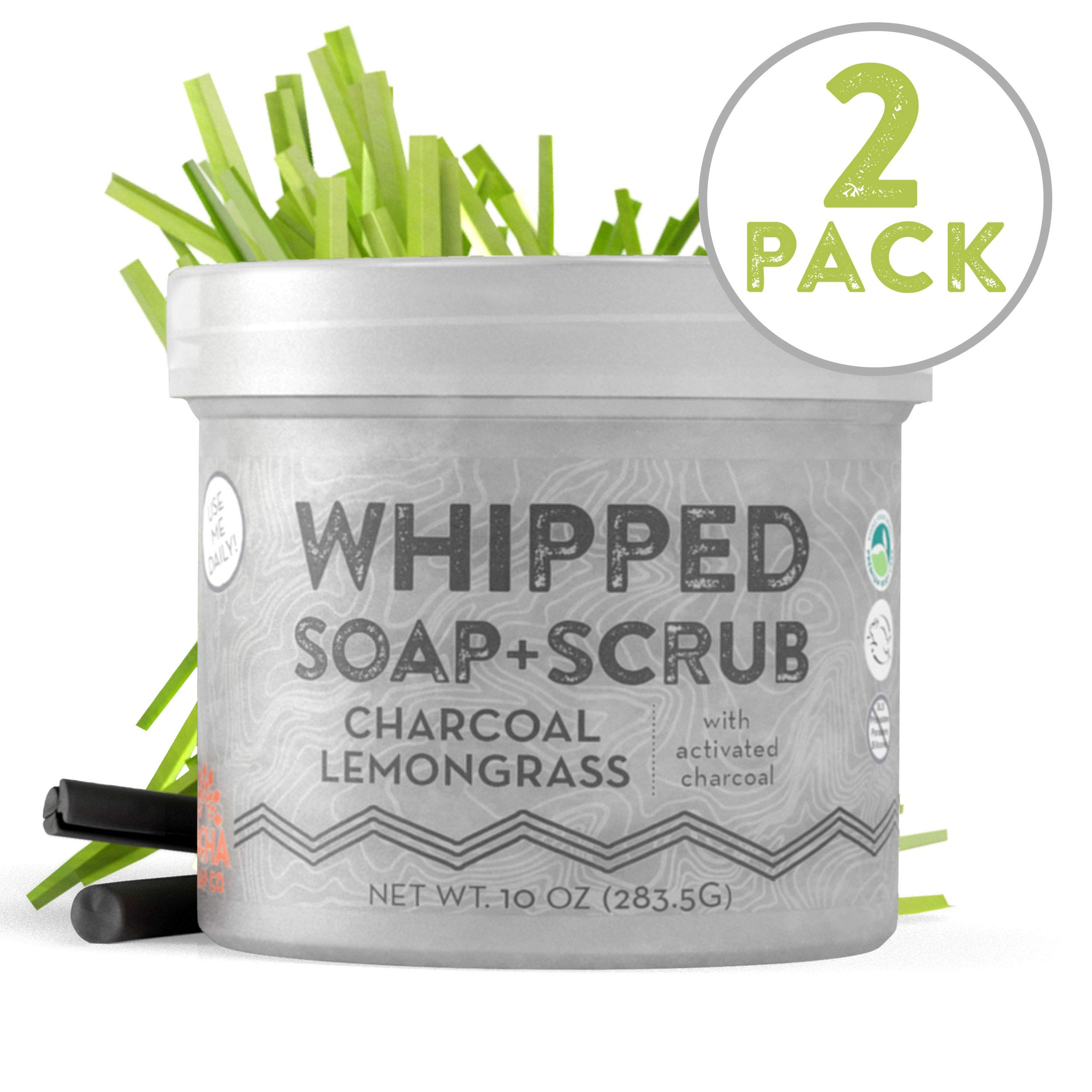 Whipped Soap + Scrub Body Wash - Detoxifying Charcoal and Lemongrass - Luxurious Body Wash and Scrub for an Exfoliating Head to Toe Cleanse by Pacha Soap Co