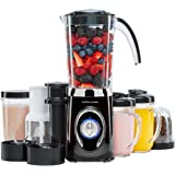 Andrew James Smoothie Maker | Multi Function 4 in 1 Blender Machine with Ice Crusher Grinder & Juicer | Includes 1L Jug | 500ml and 300ml Cups | Plus 2 Travel Cups | 220W | Black