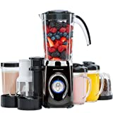 Andrew James Smoothie Maker Blender, Multi-Function 4 in 1 Machine with Ice Crusher Grinder & Juicer, Includes 1Ltr Jug, 500ml & 300ml Cups With Lids Plus 2 Travel Cups with Flip Up Drinking Lids, 500W, 2 Speed Settings & Pulse Function