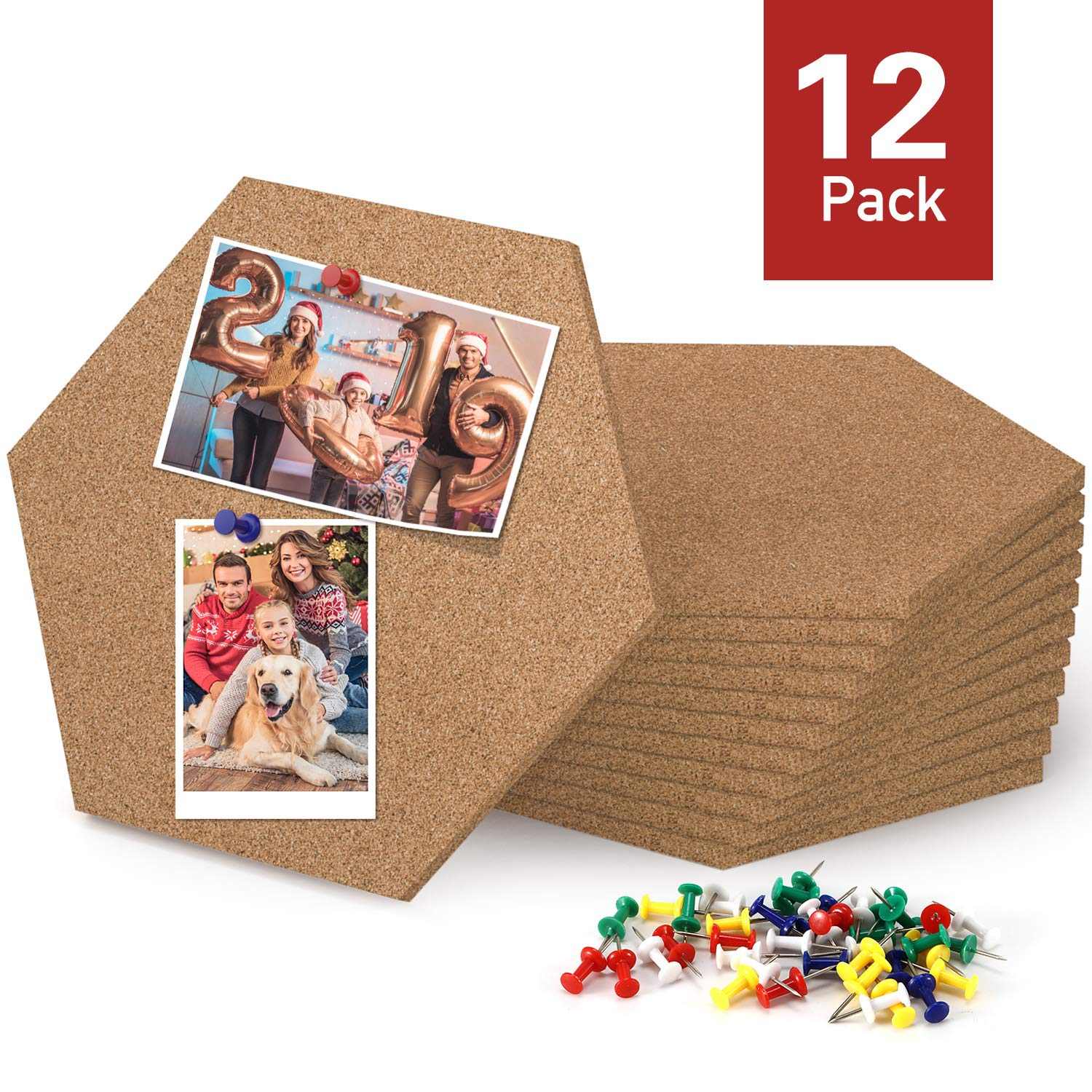 Magicfly Hexagon Self Adhesive Cork Tiles, 7.9 X 6.85 Inch Cork Board for Wall Bulletin Boards, Notes, Pictures, Office Memo and Home Decor, Pack of 12, Bonus 60 Push Pins