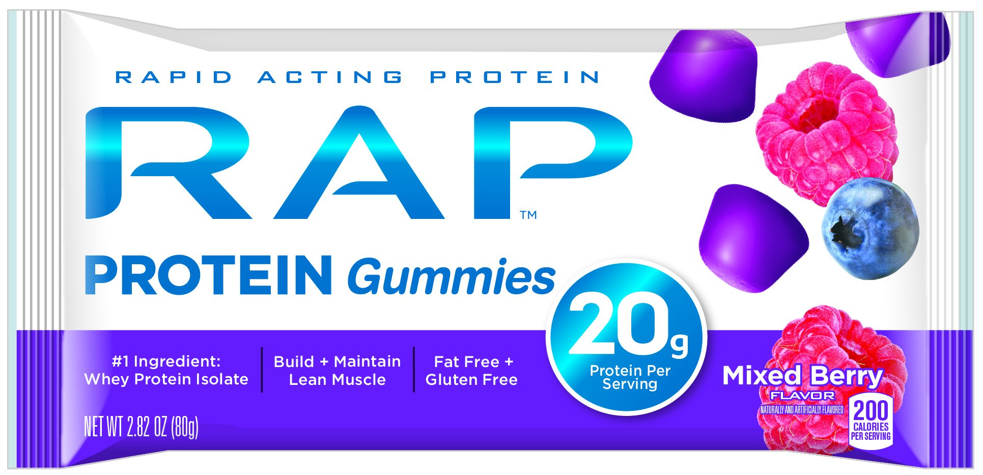 RAP Protein Gummyes, Mixed Berry, 2.82 Ounce (Pack of 5) by Rap4