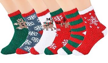 Fanspack Calcetines de Navidad 6 Pareja, Calcetines Mujer Colorido Set