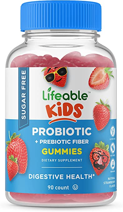 Lifeable Sugar Free Probiotics with Prebiotics Fiber for Kids – Great Tasting Natural Flavor Gummy Supplement – Keto Friendly Probiotic Chewable – for Gut Health and Immune Support – 90 Gummies