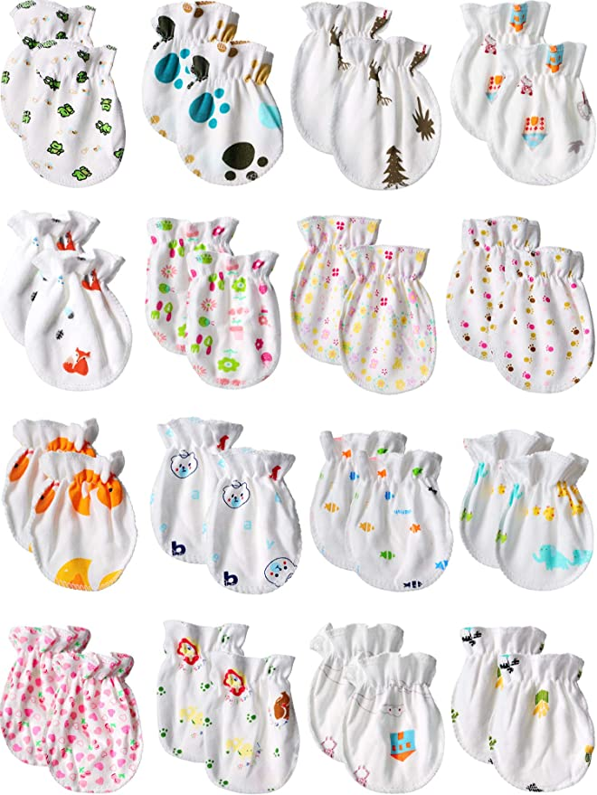 Baby Soft Cotton Infant Anti Scratch Mittens Gloves Boy Girl Hand-guard New W5E0