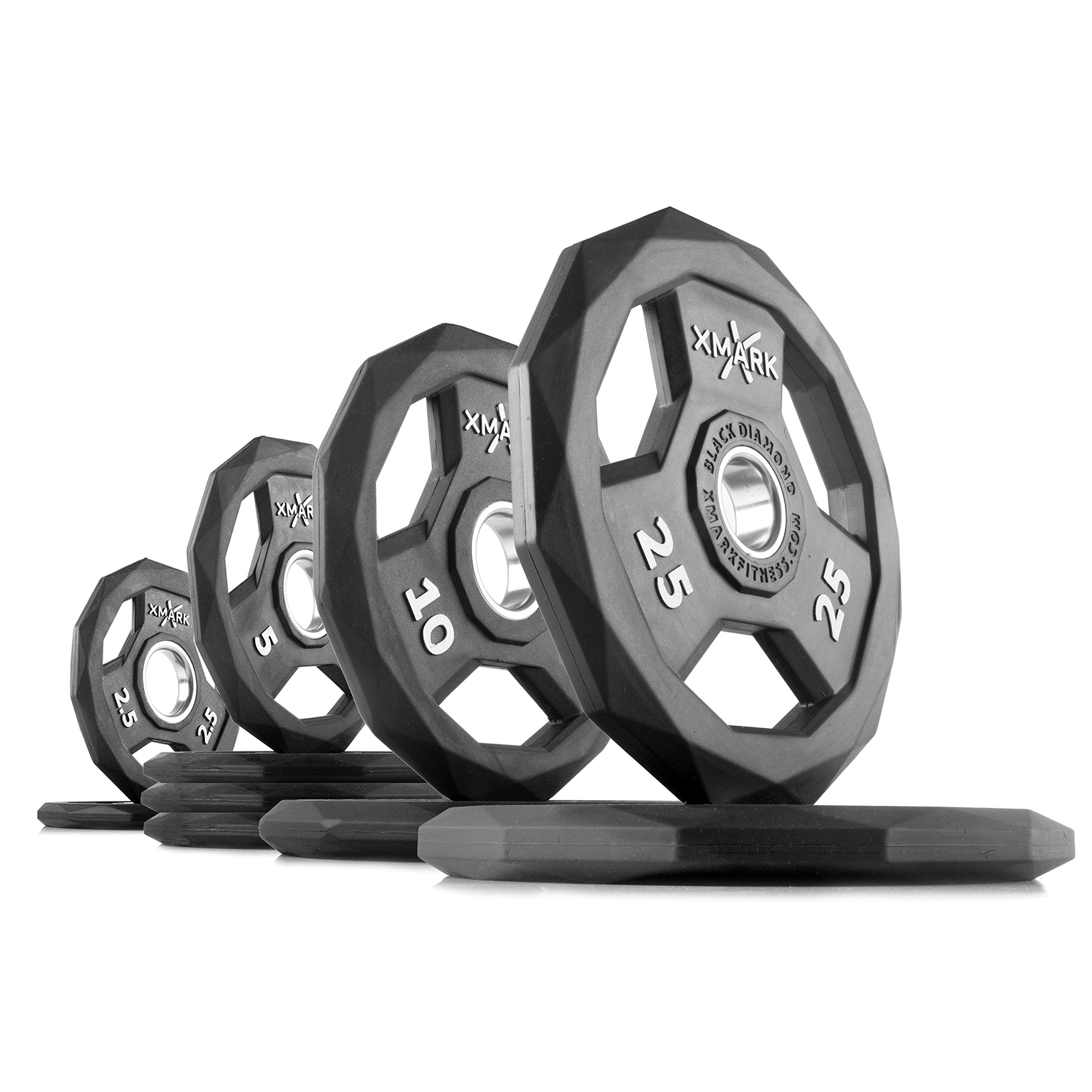 XMark Black Diamond 95 lb Set Olympic Weight Plates, One-Year Warranty, Patented Design
