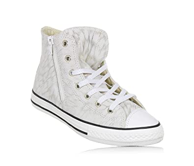 8d0cf7fab0af Converse Kids Chuck Taylor All Star Side Zip Hitop Gold Shimmer Black White