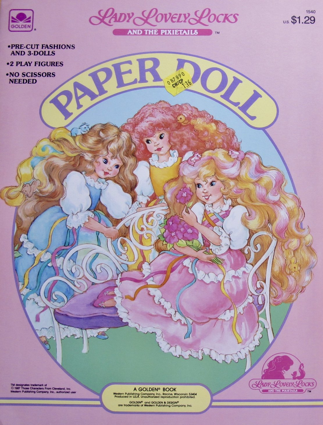 Golden LADY LOVELY LOCKS and The PIXIETAILS PAPER DOLL BOOK (UNCUT) w 3 Card Stock DOLLS, 2 Play FIGURES, Pre-Cut FASHIONS (1987 Western)