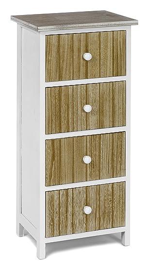 Ts Ideen Design Kommode Schrank Holz Weiß Und Natur Standregal Zur  Aufbewahrung