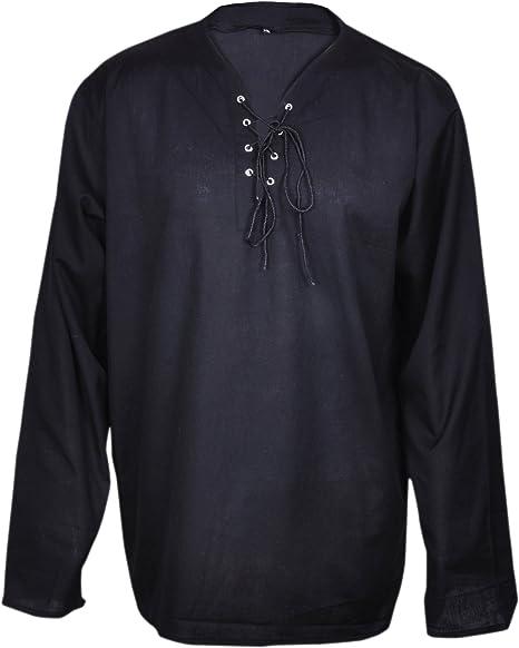 Casual Camiseta de Verano Renacimiento del Pirata Color Negro Traje Medieval Hombres del Hippie Grande