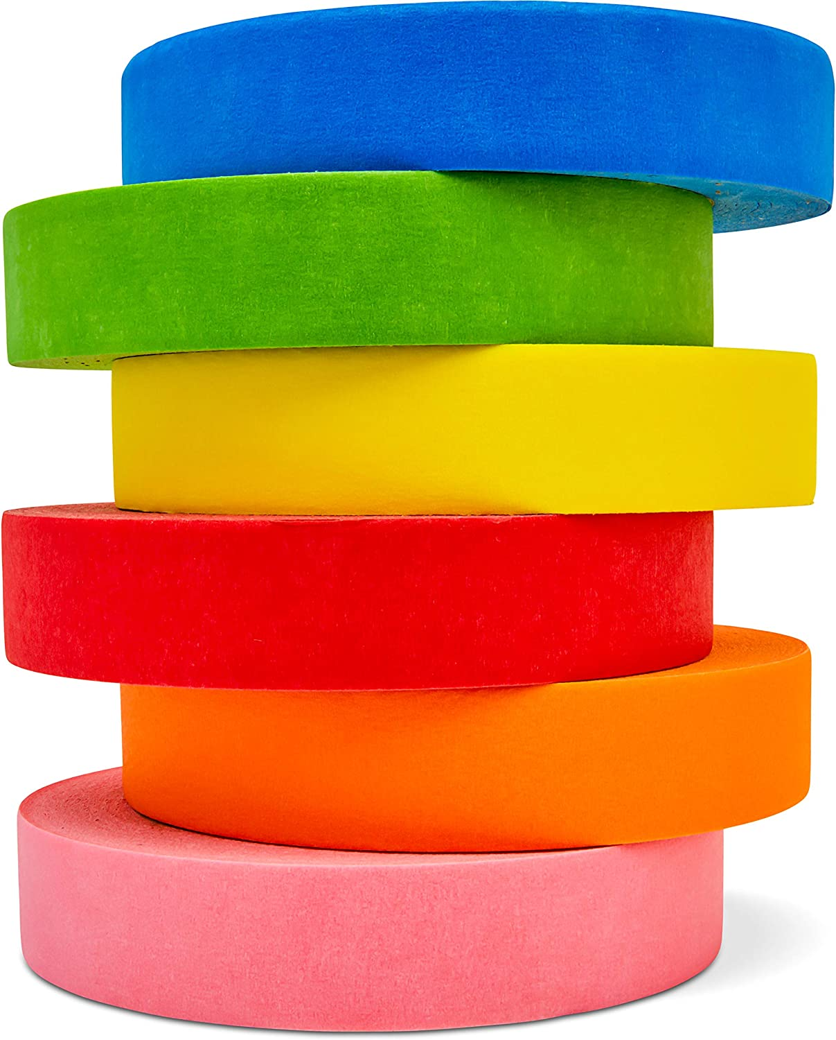 Colored Masking Tape, 6 Extra Long Rolls of Bright Colored Art Tape for Kids, for Crafts, Labeling, and Office Supplies, 1 inch by 180 feet Per Roll