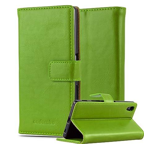 Cadorabo Hülle für Sony Xperia Z5 - Hülle in Gras GRÜN – Handyhülle im Luxury Design mit Kartenfach und Standfunktion - Case