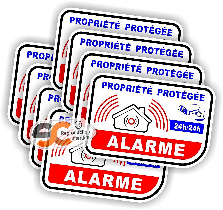 Lot de 8 Stickers / Autocollant Alarme Vidé o Surveillance - Alm7 x8 SC