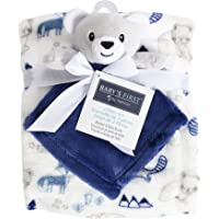 """Baby's First by Nemcor 2 Piece Baby Blanket and Buddy Set, 30x40"""" Plush Security Blanket for Newborn and Infant, Blue…"""