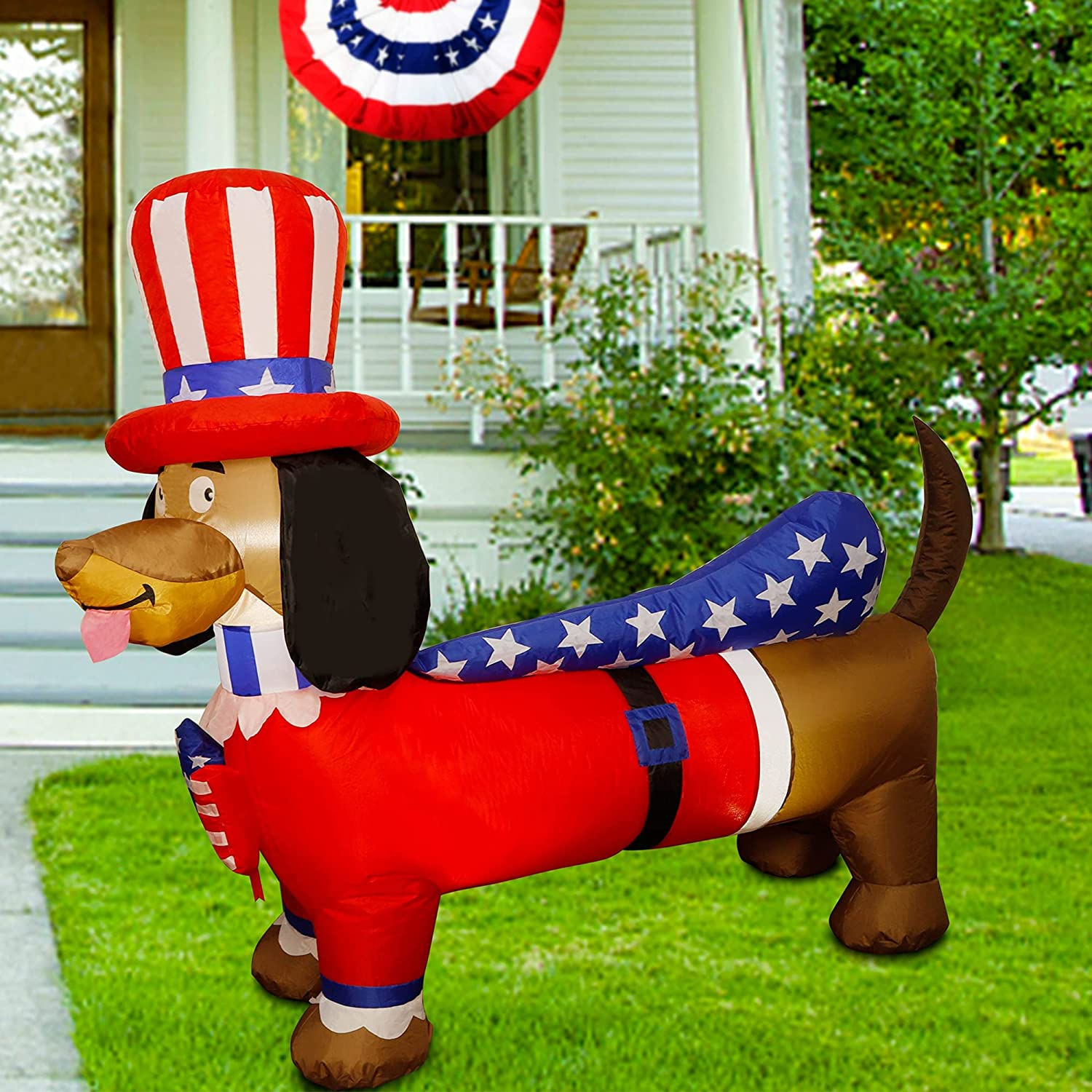 Twinkle Star 5FT Long Patriotic Inflatable Lighted Wiener Dog with Top Hat, Blow Up Independence Day 4th of July Outdoor Uncle Sam Dachshund Decor Lawn Yard Home Celebration Garden Party Decorations