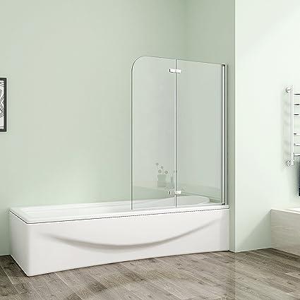 120x140cm Duschabtrennung Badewannenaufsatz Badewannenfaltwand 6mm Duschwand Badewanne Mit Nanobeschichtung Glas