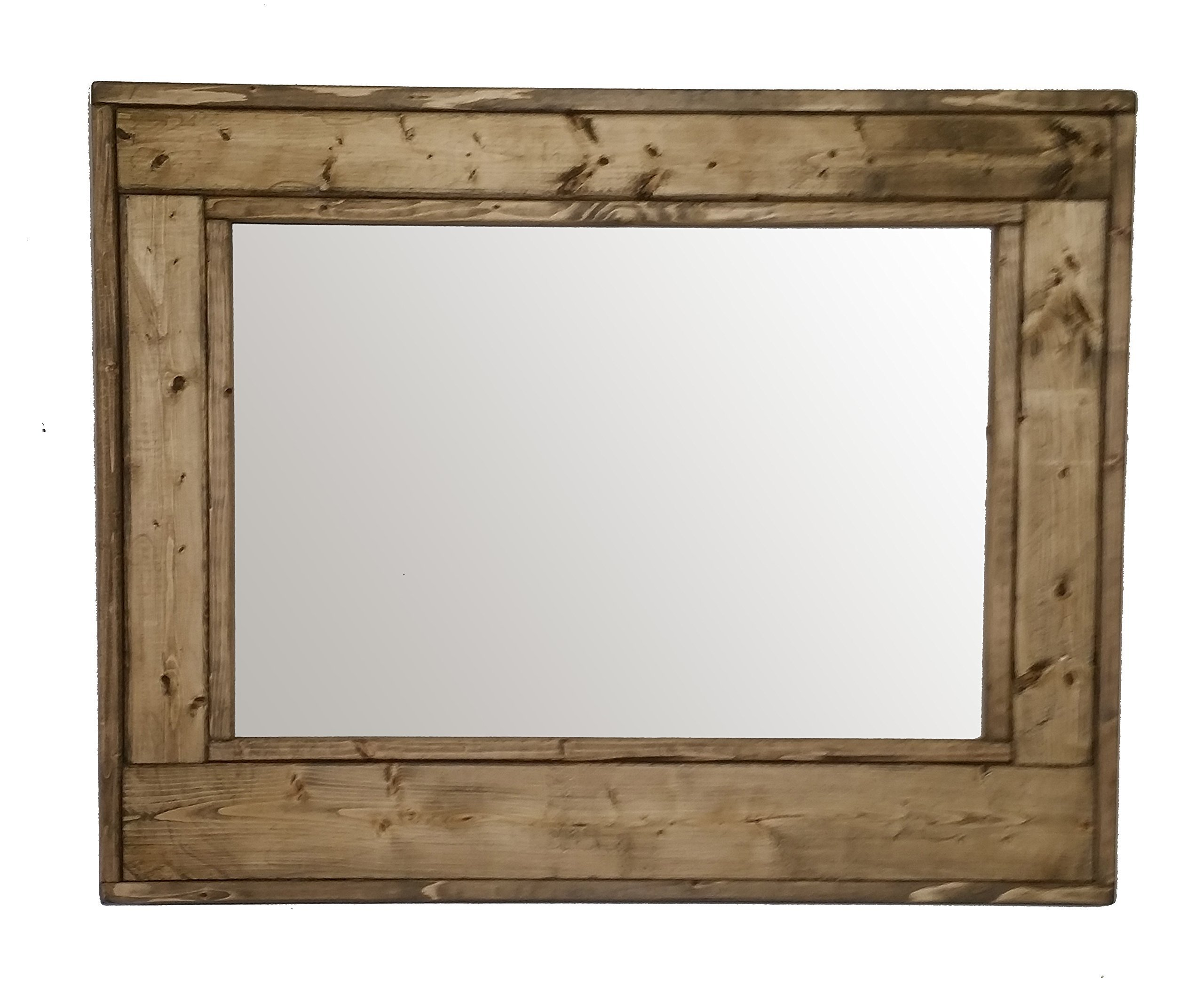 Herringbone 30 x 24 Horizontal Framed Mirror Stained in Driftwood - Reclaimed Wood Mirror - Large Wall Mirror - Rustic Modern Home - Home Decor - Mirror - Housewares by Renewed Decor