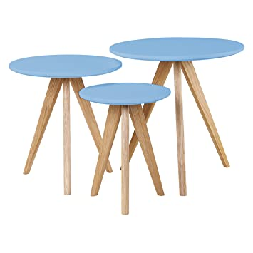 retro home furniture. Abreo New Nest Tables Scandinavian Retro Home Furniture Style Solid Oak Legs (Blue