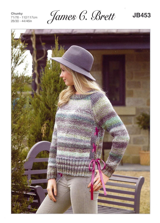 Ladies Long Sleeved Jumper Knitting Pattern James Brett Marble Chunky JB370