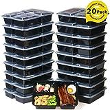 Meal Prep Containers [20 Stück] 3 Fächer Lebensmittel Aufbewahrung Bento Box | BPA-frei | stapelbar | wiederverwendbar Lunch-Boxen, Mikrowelle/Spülmaschinenfest/Gefrierschrank Safe, Teil Kontrolle (20-pack)