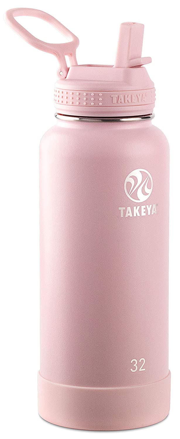 Takeya 51241 Actives Insulated Stainless Steel Bottle w/Straw Lid, 32 oz, Blush