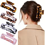 GLAMFIELDS Medium Hair Claw Clips 3.2 Inch Non Slip Tortoise Shell Leopard Print French Butterfly Jaw Clips for Women Girls,