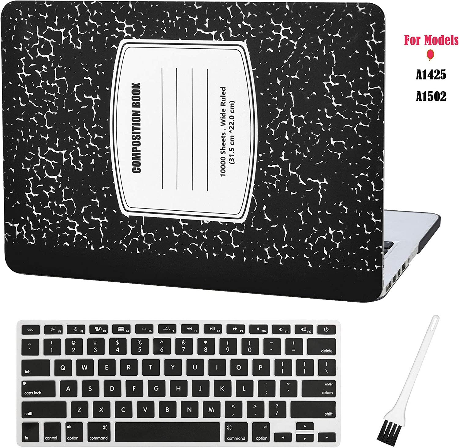 MacBook Pro 13 inch Case Cover A1502 A1425 Plastic Laptop Hard Shell Cover Sleeve Matte Rubberized (2012 2013 2014 2015 Release) with Silicone Keyboad Cover and Dust Brush(Notebook Pattern-Black)