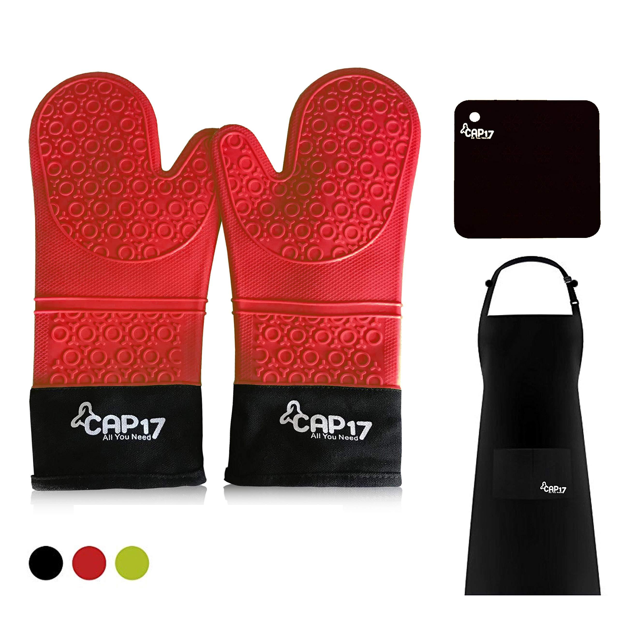 Guantes de Horno Silicona Resistentes al Calor, Oven Gloves Guantes Cocina, Extra Larga Mitones