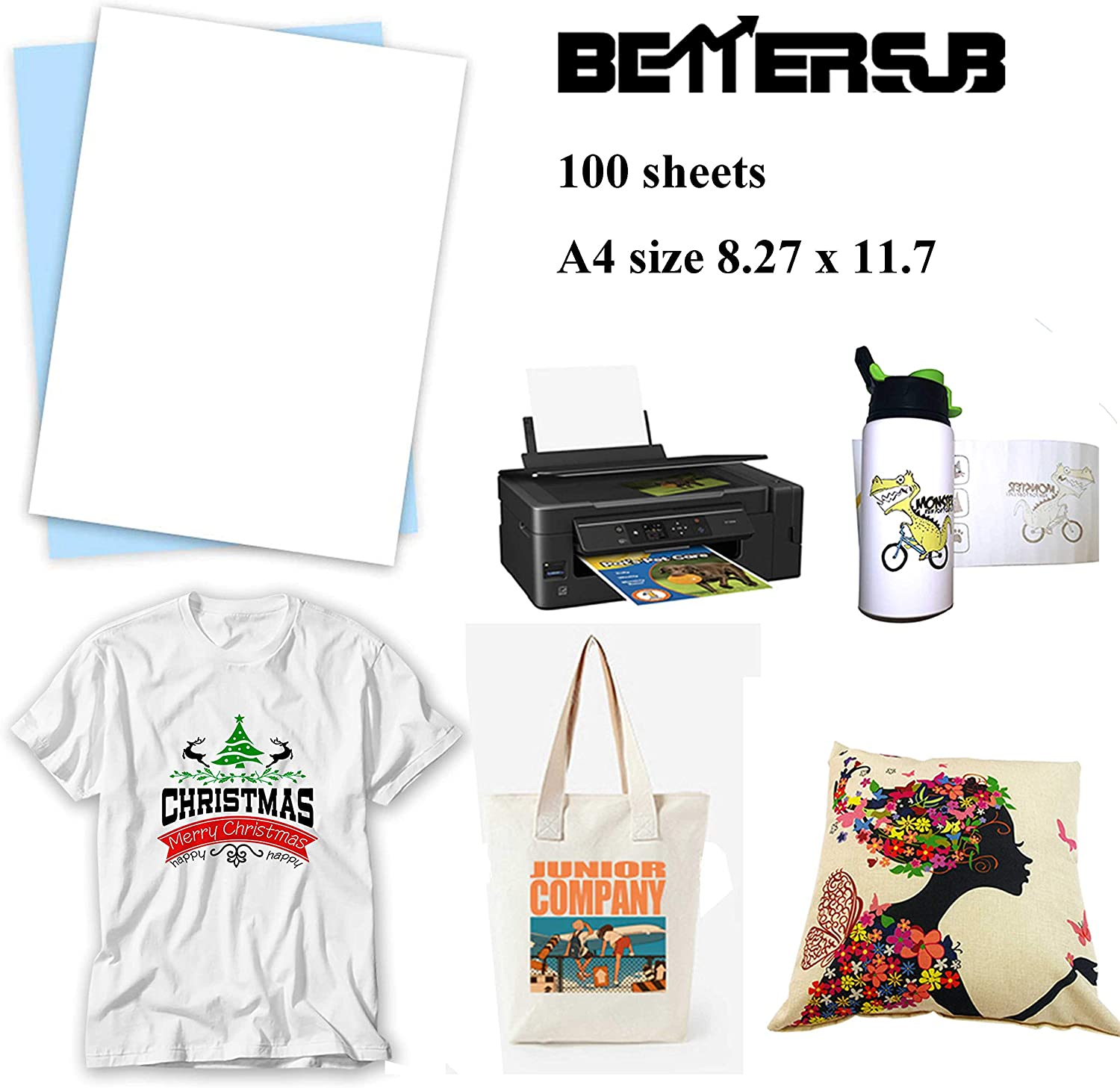"""BetterSub Sublimation Paper Heat Transfer Paper 110 Sheets A4 Size 8.3"""" x 11.7"""" for EPSON HP CANON Inkjet Printer with Sublimation Ink in Light Color Shirts Hat Cap Mug Cup"""