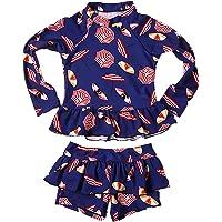 44dcf8975c Baby Kids Girls 2pcs Long Sleeve Sun Protection Umbrella Print Rash Guard Beach  Swimwear Swimsuit UPF