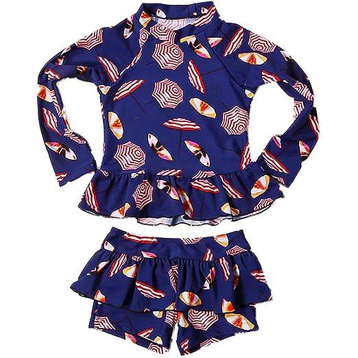 51fdbab8eb227 Baby Kids Girls 2 Pieces Long Sleeve Sun Protection Umbrella Print Boy-Leg  Rash Guard