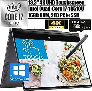 """Dell Inspiron 13 7000 2020 Premium 2-in-1 Laoptop I 13.3"""" 4K UHD Touchscreen I Intel 4-Core i7-10510UI 16GB RAM 2TB PCIe SSD I Backlit FP Thunderbolt3 Pen Win 10 Pro + Delca 16GB Micro SD Card"""