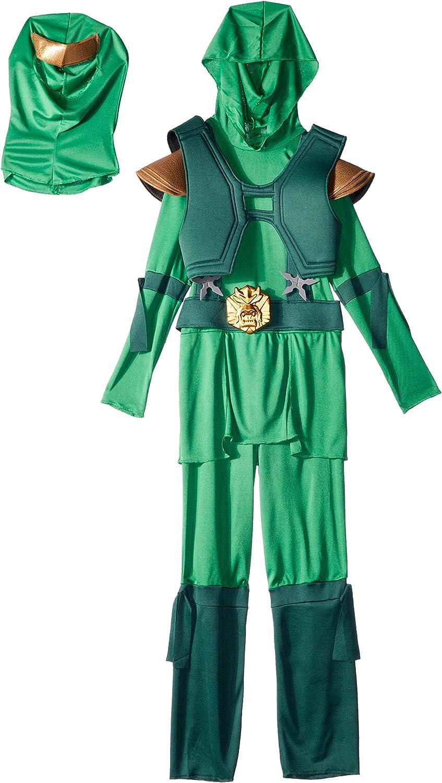 Disguise Shadow Ninja Green Master Ninja Deluxe Boys Costume, One Color, 7-8