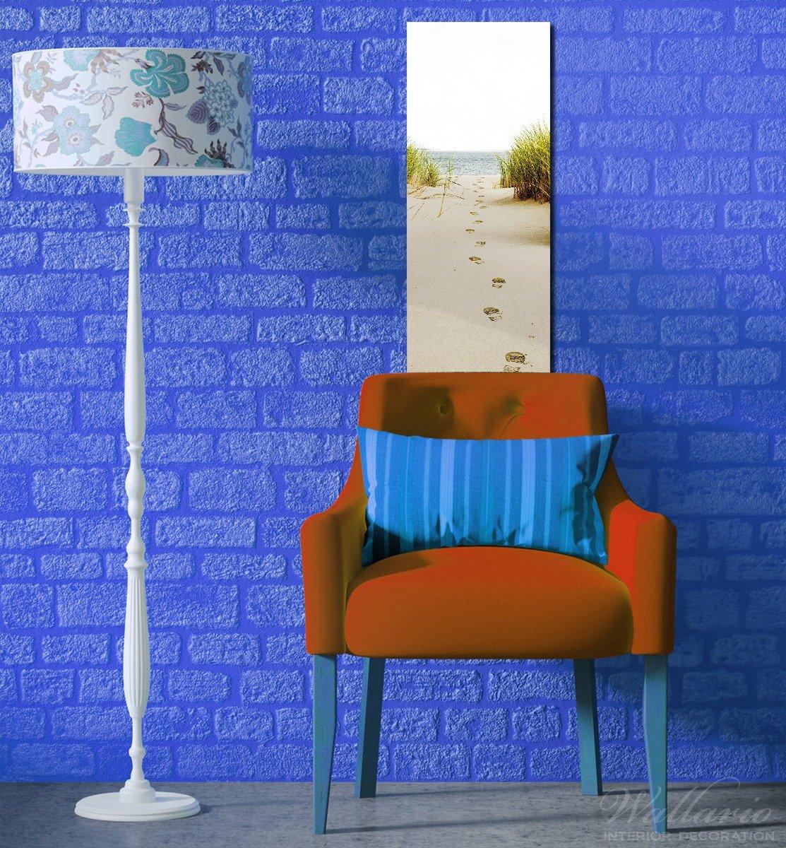 Wallario Wandgarderobe aus Glas in Größe 50 x x x 125 cm in Premium-Qualität, Motiv  Spuren im Sand- Fußspuren durch die Düne Zum Meer   7 Kleiderhaken Zum Aufhängen von Jacken a79151