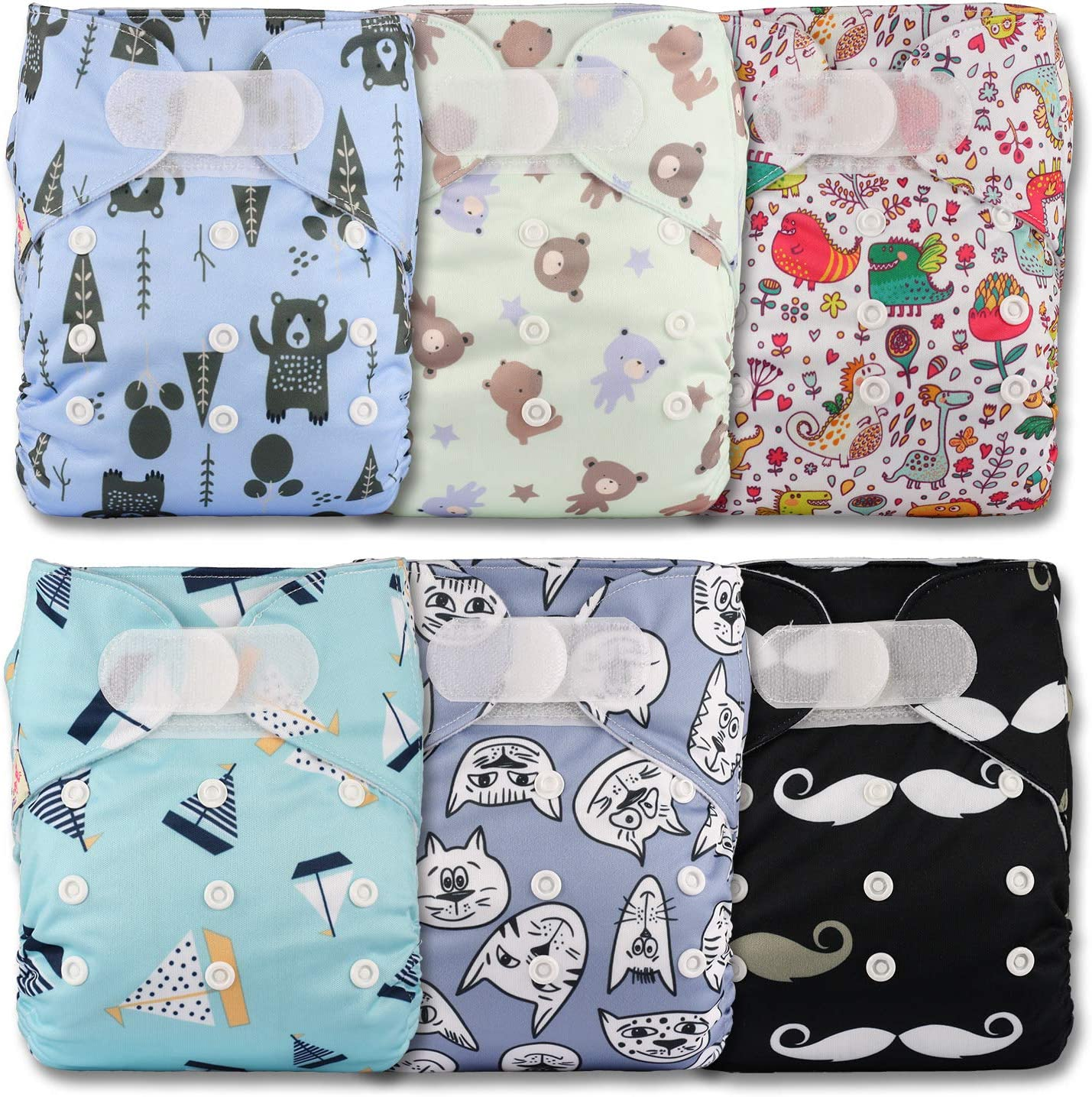 Patterns 608 Littles /& Bloomz with 6 Bamboo Inserts Set of 6 Fastener: Hook-Loop Reusable Pocket Cloth Nappy