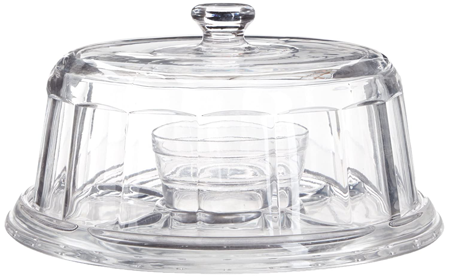Home Essentials 07536 Beautiful Glass Panaled Cake Stand Multifunctional Cake and Serving Stand (6 uses), Clear
